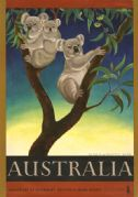 Koala or Native Bear. Australia. Vintage Travel poster by Eileen Mayo